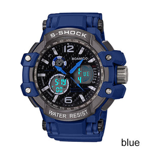 s shock men sports watches dual display analog digital LED watch Electronic quartz watches 50M waterproof BOAMIGO swimming watch