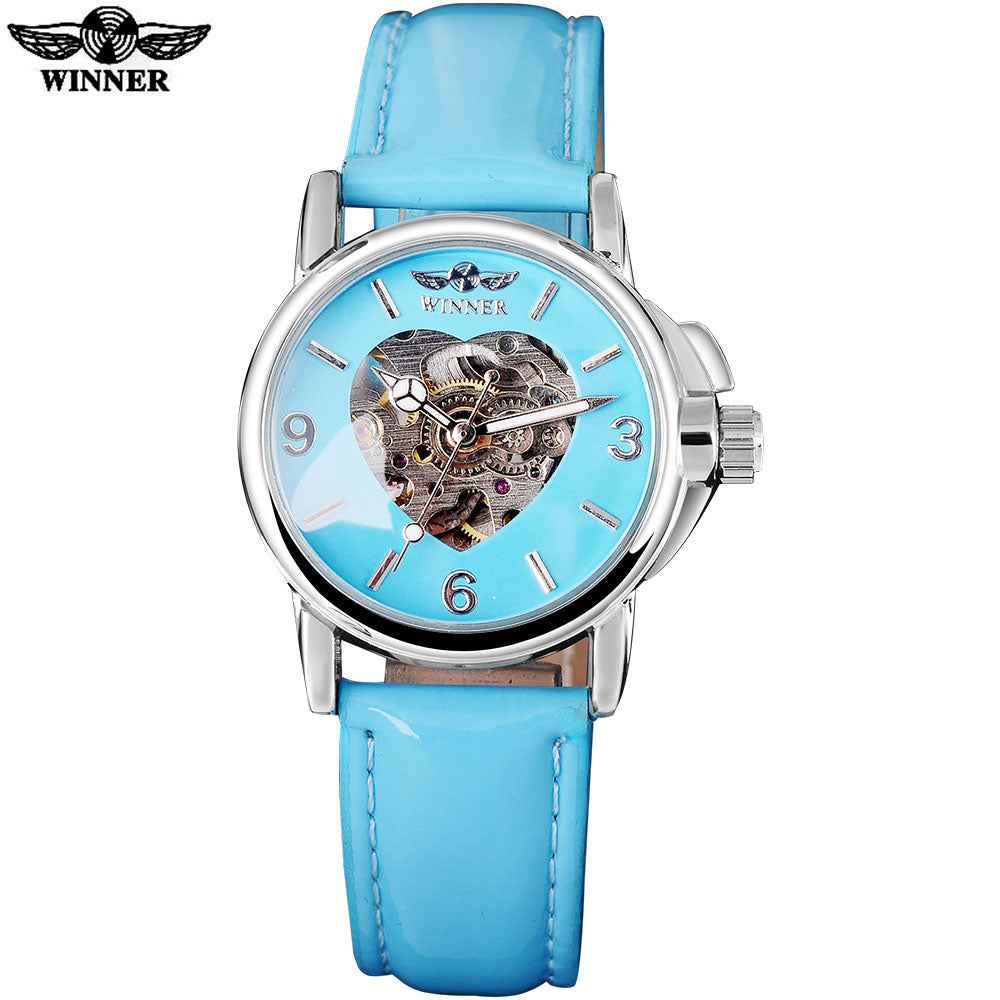 2016 WINNER brand fashion casual watches women lady heart skeleton automatic mechanical wrist watches sky blue leather belt band