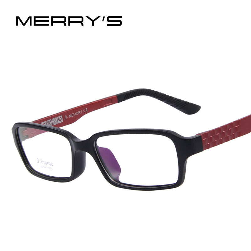 MERRY'S Men Women Fashion Eyeglasses Frames UV400 Mirror Lens Optical PC TR90 Glasses