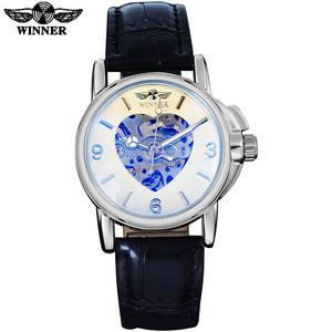 2016 WINNER popular brand women watches simple automatic self wind watch skeleton dial Arabic numbers white case leather band