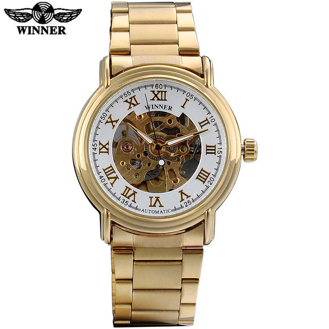 WINNER  fashion luxury men mechanical watches famous hot brand man skeleton dials wristwatches stainless steel band reloj hombre