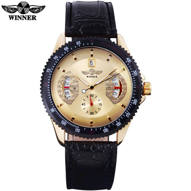 WINNER brand men fashion mechanica watches casual men's automatic auto date silver case watches  male clock relogio masculino