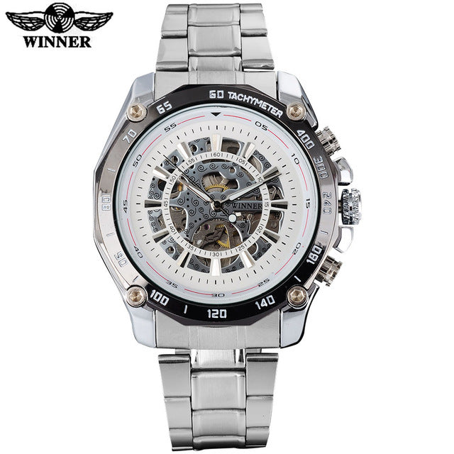 WINNER fashion casual mechanical watches men luxury brand skeleton dials wristwatches silver stainless steel band reloj hombre