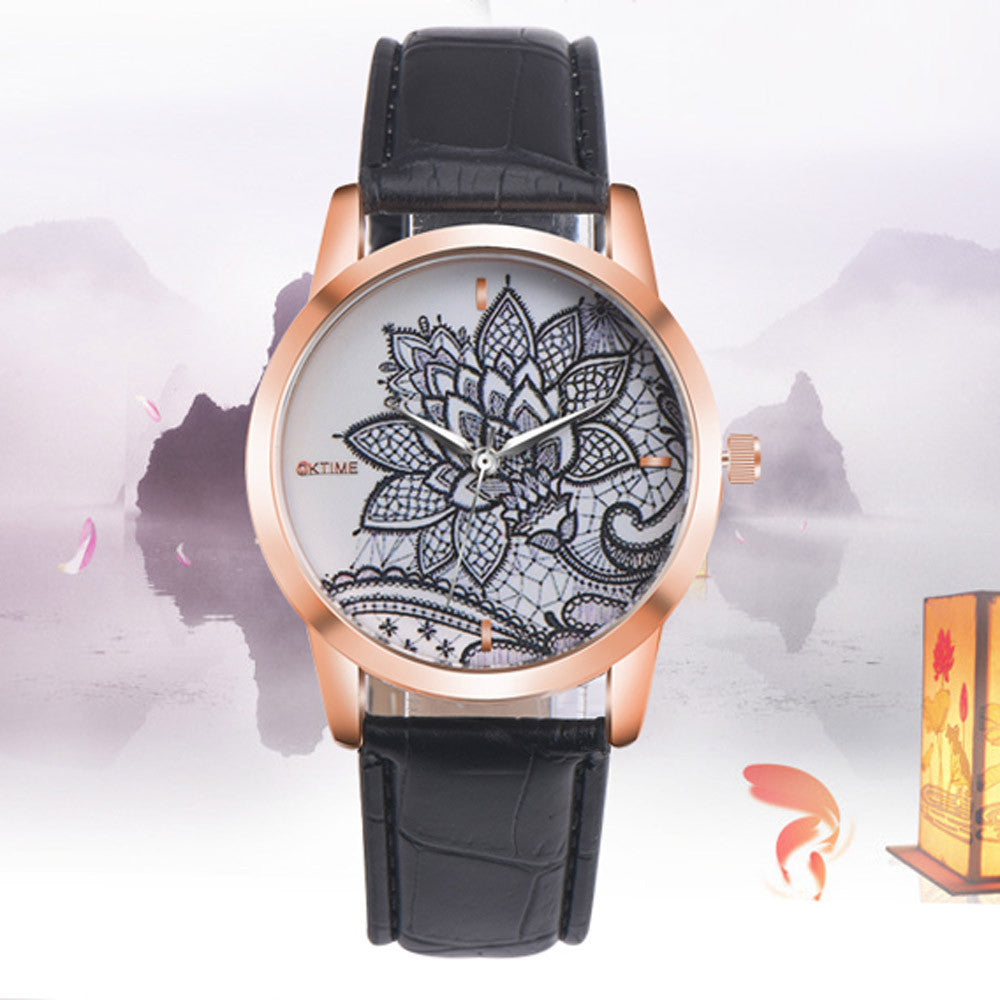 2017 Fashion Newest Women Watch Leather Band Flower Embroidery Analog Quartz Round Wrist Watch Watches
