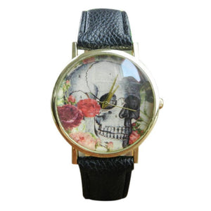 GENVIVIA skull pattern watch lighter reloj mujeres 2017 new arrival large face watches leather band quartz watch for women