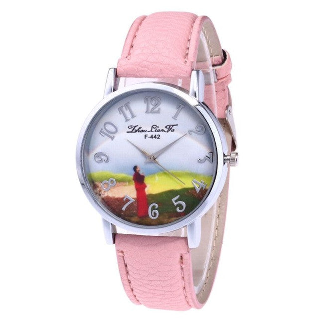 High Quality Women Watch Female Red Leather Band Analog Quartz Round Printing Wrist Watch Watches Ladies Clock Relojes Mujer