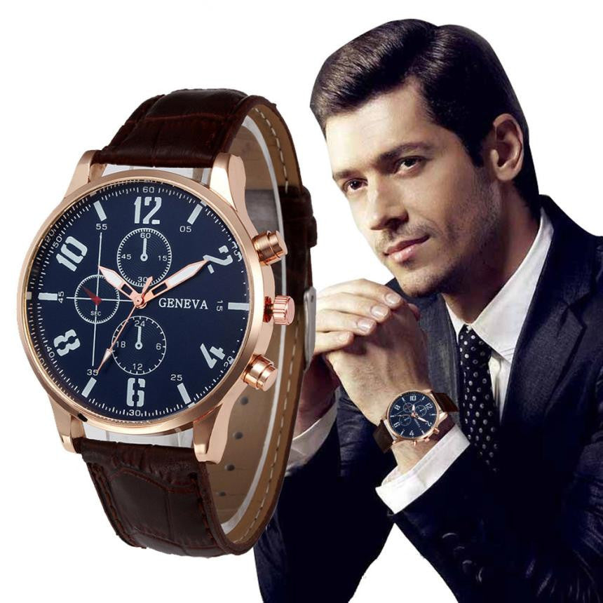 Genvivia Brand New Men's Watch Quartz Watch Waterproof Sport Military Watches Men Leather relogio masculino original
