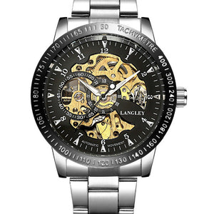 Top Luxury Brand Mechanical Watch Men's Automatic Self wind Wristwatch Stainless Steel Skeleton Fashion Clock Male Steampunk