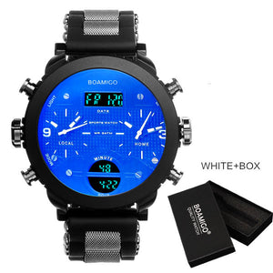 men sport watches BOAMIGO brand men watches 3 time zone rubber LED digital watches military quartz wristwatch with gift box F905