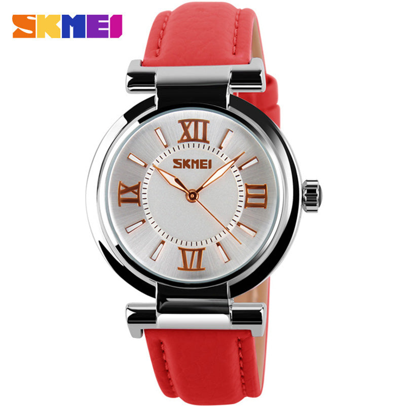 SKMEI fashion casual women quartz watches leather strap luxury brand ladies watches silver case 30M water resistant reloj mujer