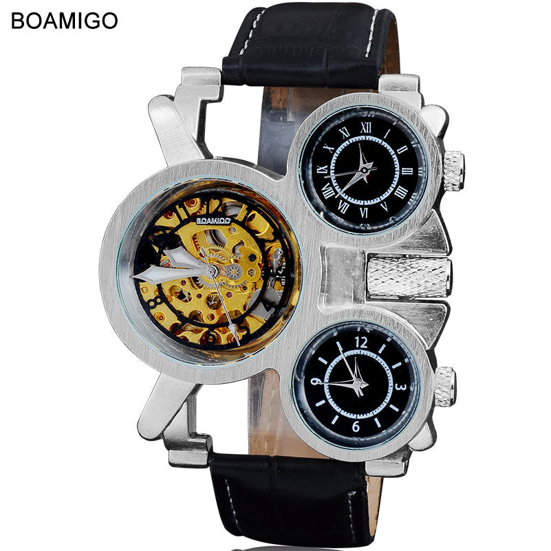 2015 new  watches men luxury brand BOAMIGO steampunk sports watches automatic mechanical Quartz Watch leather band wristwatches