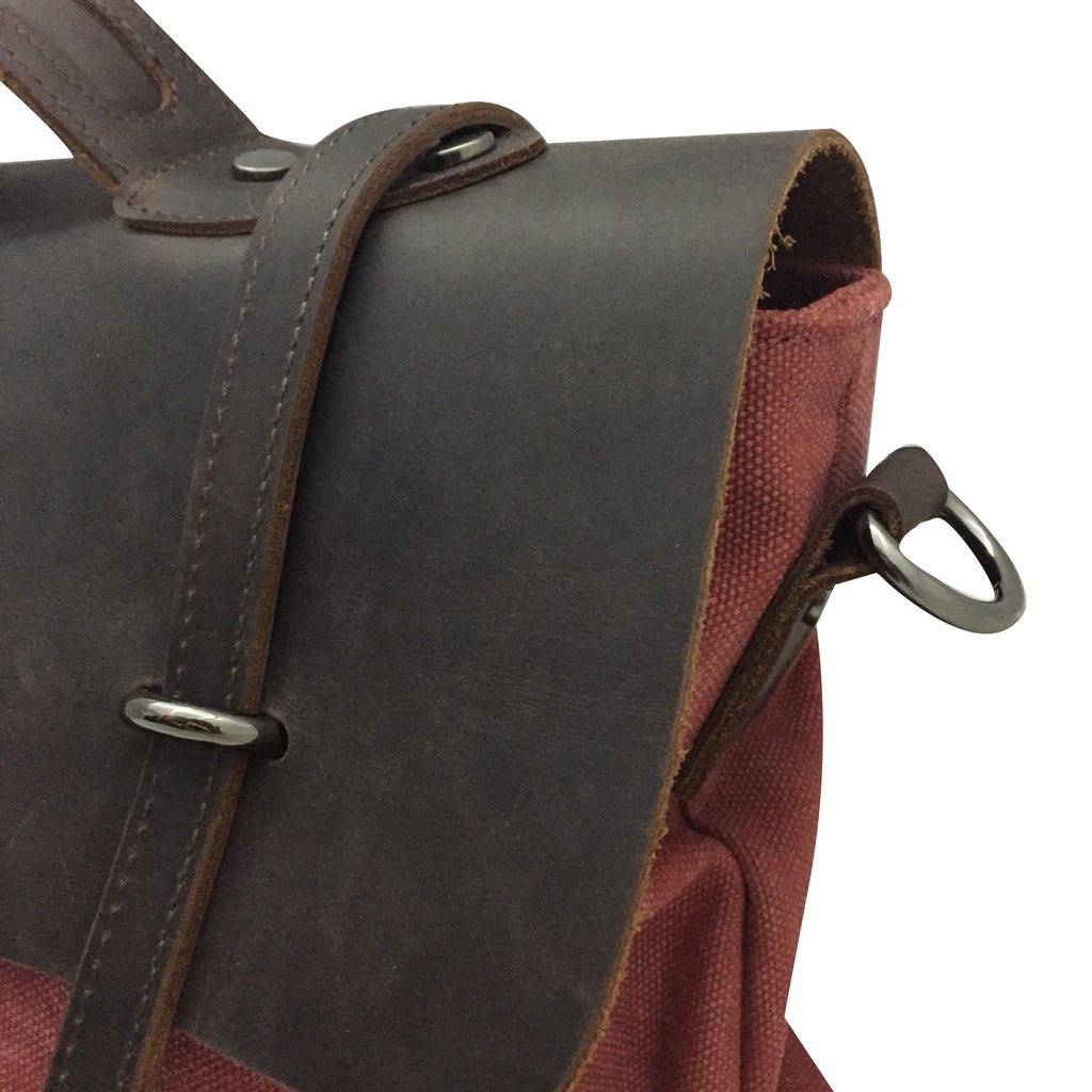 RED CANVAS LEATHER  SATCHEL