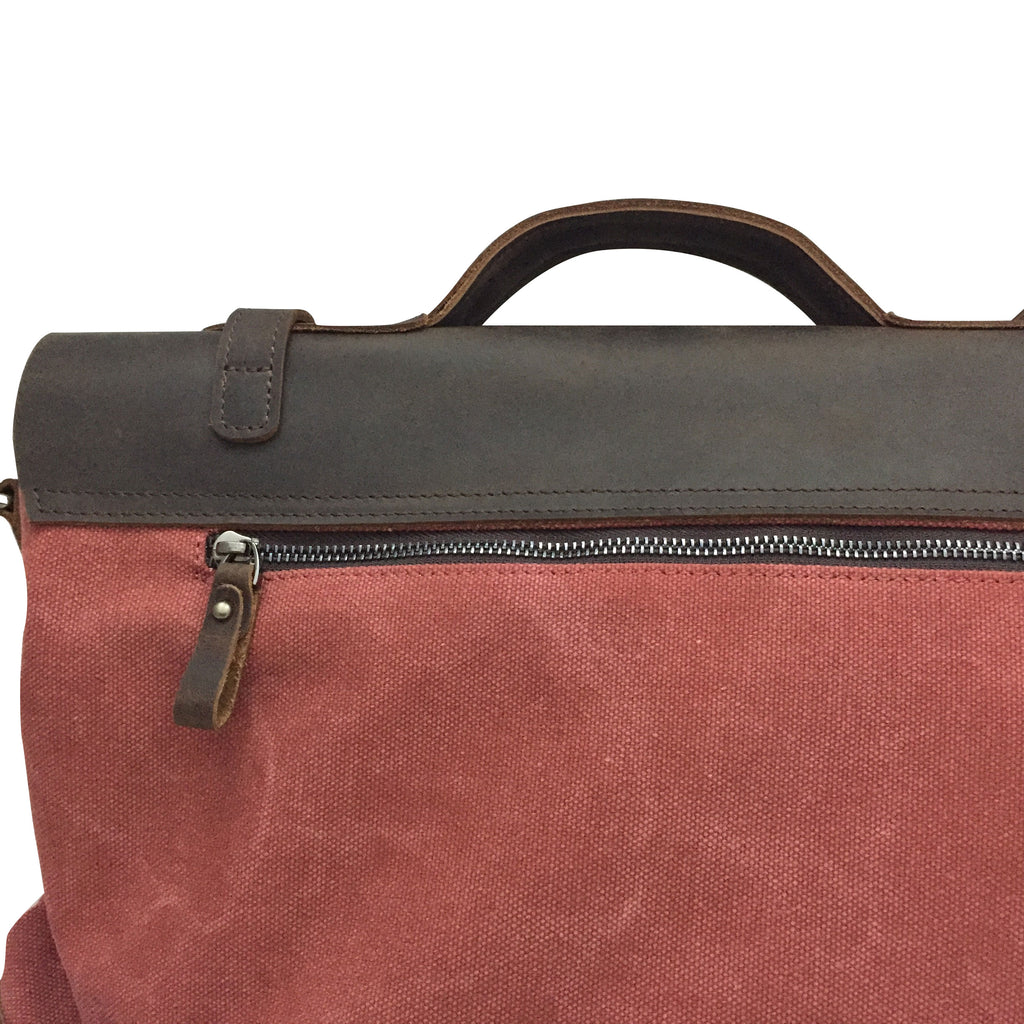 "17"" RED CANVAS LEATHER  SATCHEL"
