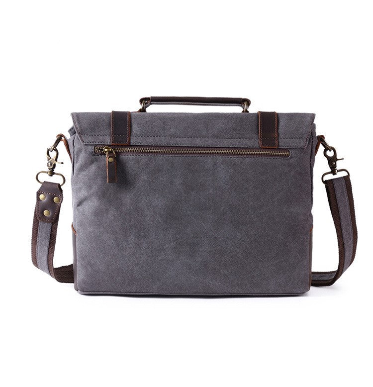 GREY  CANVAS LEATHER  RETRO SATCHEL