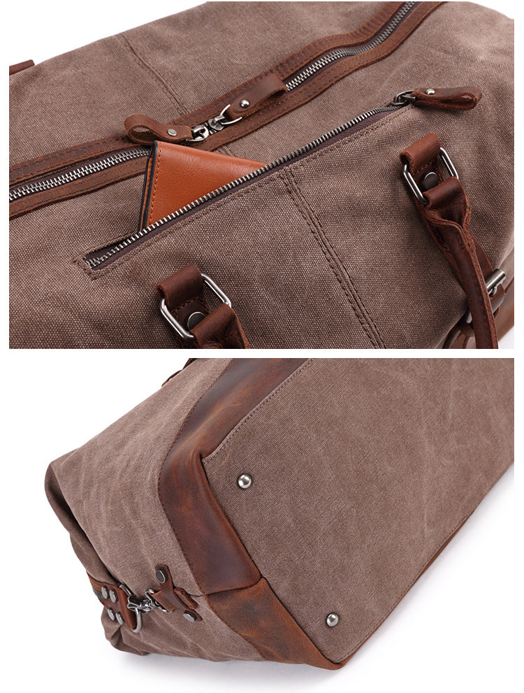COFFEE CANVAS LEATHER  TRAVEL BAG