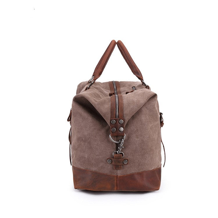 DARK GREY CANVAS LEATHER  TRAVEL BAG