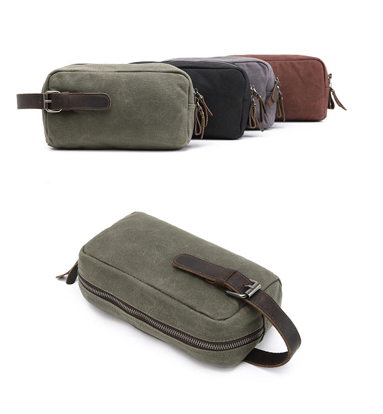 CANVAS/LEATHER TOILETRY BAG