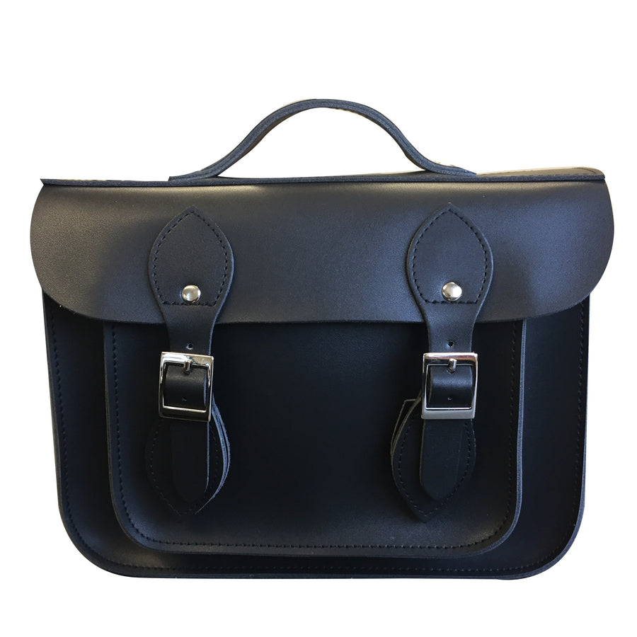 BLACK BEAUTY LEATHER 'SATCH BAG' 11""
