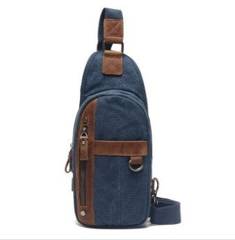 BLUE  CANVAS LEATHER  SHOULDER BAG