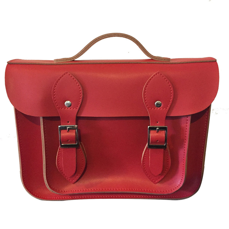 "11"" CHEEKY RED LEATHER 'SATCH BAG'"