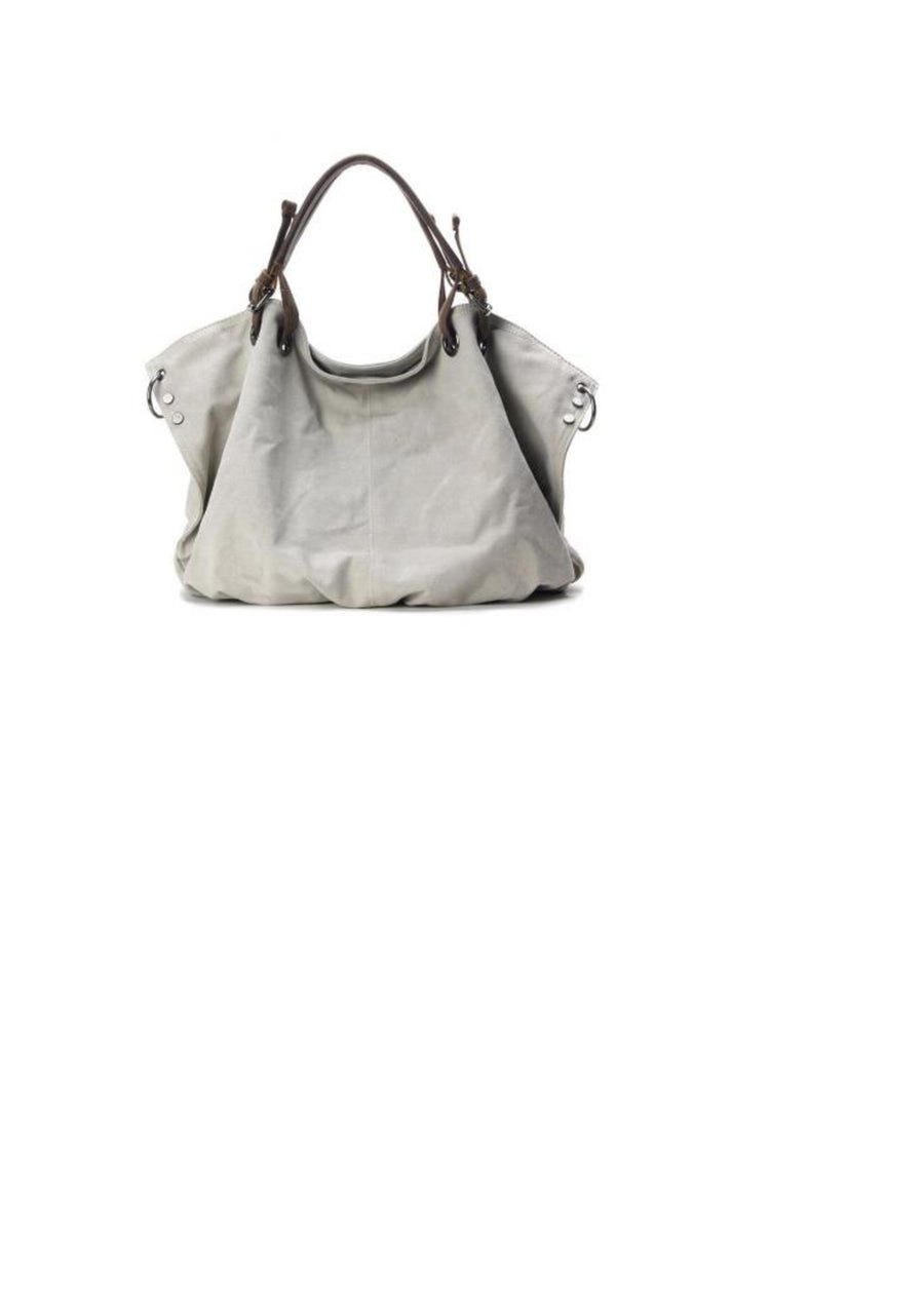Creamy White Canvas/Leather Bag