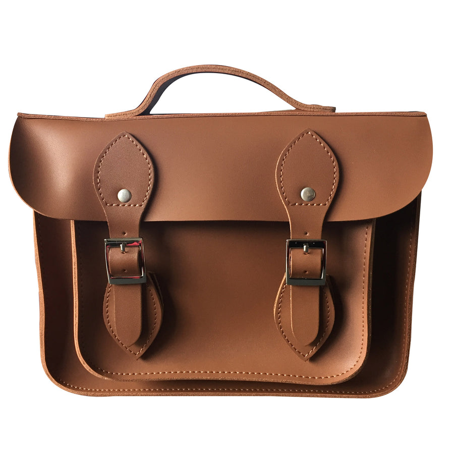 "11"" CLASSIC BROWN LEATHER 'SATCH BAG'"