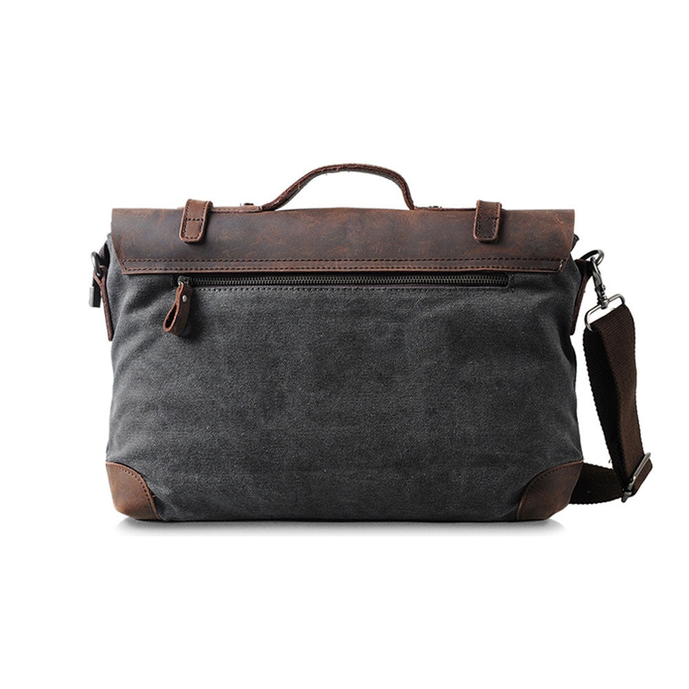 "17"" COFFEE CANVAS LEATHER  SATCHEL"