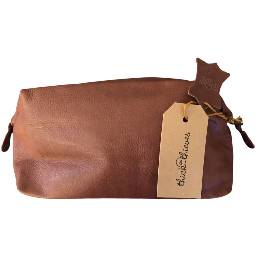 MEN'S BROWN LEATHER TOILET BAG