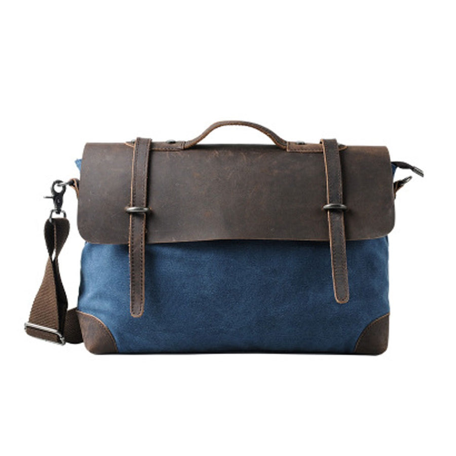 "17"" BLUE  CANVAS LEATHER  SATCHEL"