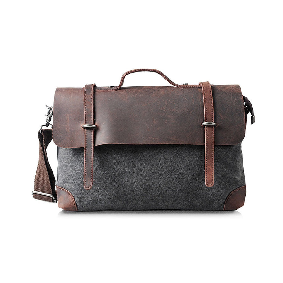 GREY  CANVAS LEATHER  SATCHEL