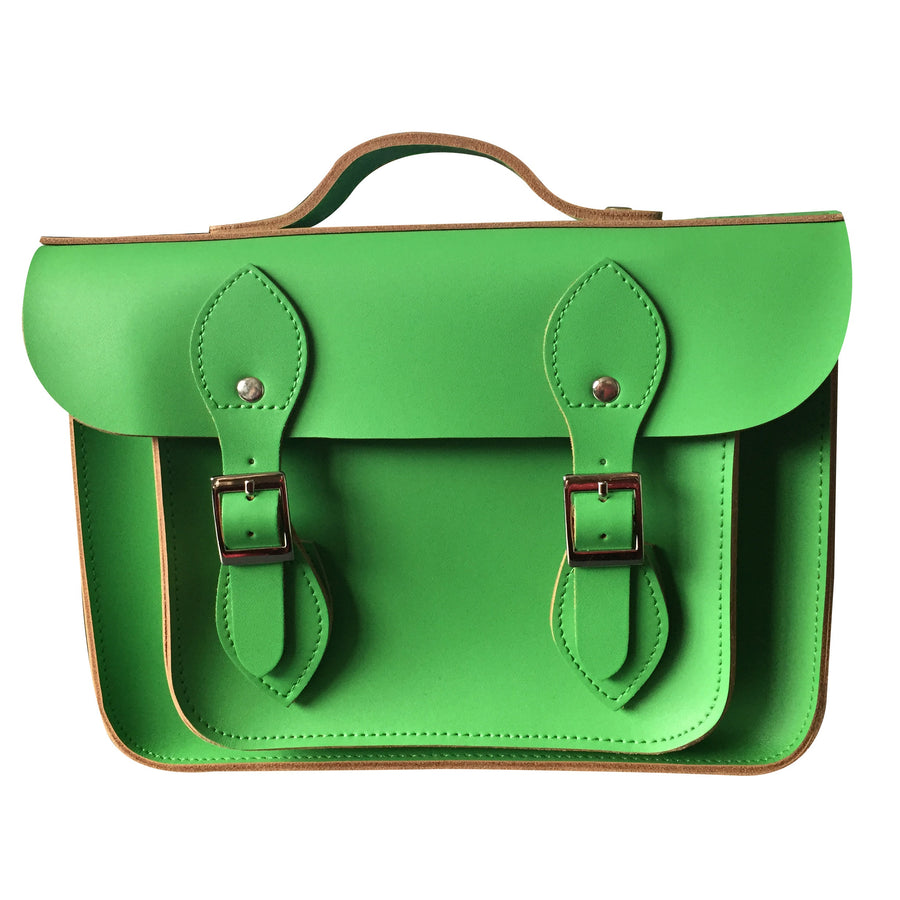 "11"" GREEN WITH ENVY LEATHER 'SATCH BAG'"