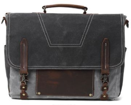GREY OIL WAX CANVAS LEATHER  SATCHEL