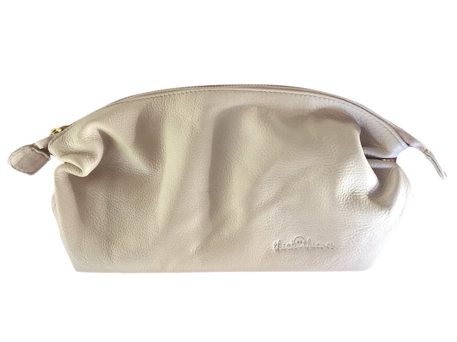 CREAM LEATHER MAKE UP BAG