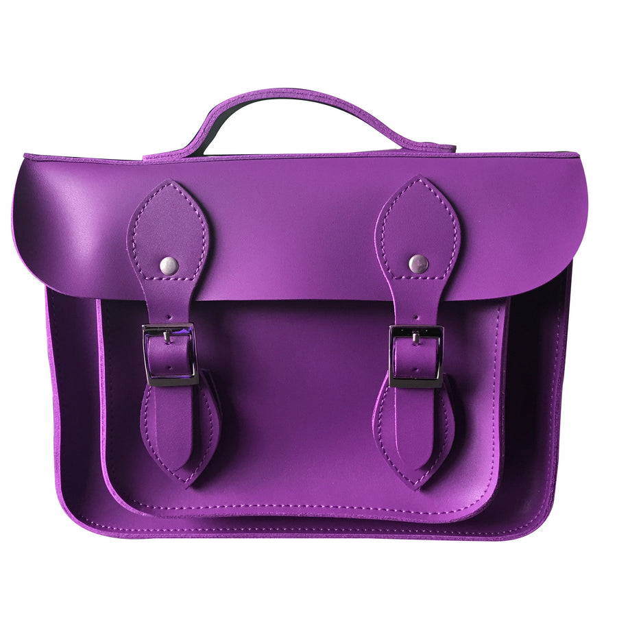 "11"" VOILET PURPLE LEATHER 'SATCH BAG'"