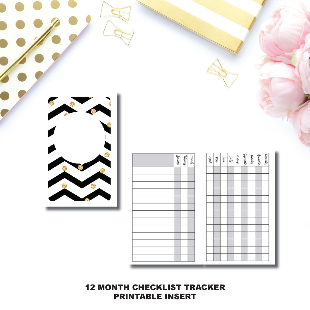 POCKET TN Size | 12 Month Checklist Tracker Printable Insert ©
