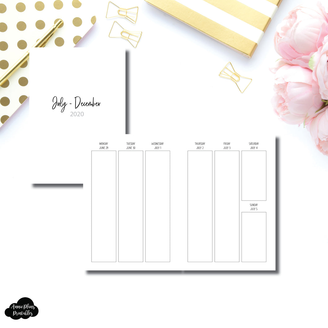 A5 Rings Size | JUL - DEC 2020 | SIMPLE Vertical Week on 2 Pages Printable Insert