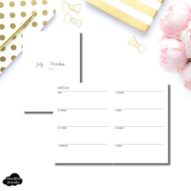 A6 TN Size | JUL - DEC 2020 | SIMPLE Horizontal Week on 2 Pages  Printable Insert