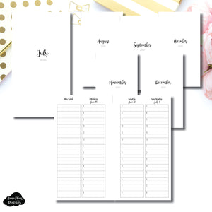 Personal Rings Size | JUL - DEC 2020 | CLASSIC TIMED Vertical Week on 4 Pages Printable Insert