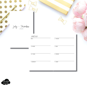 Pocket TN Size | JUL - DEC 2020 | SIMPLE Horizontal Week on 2 Pages  Printable Insert