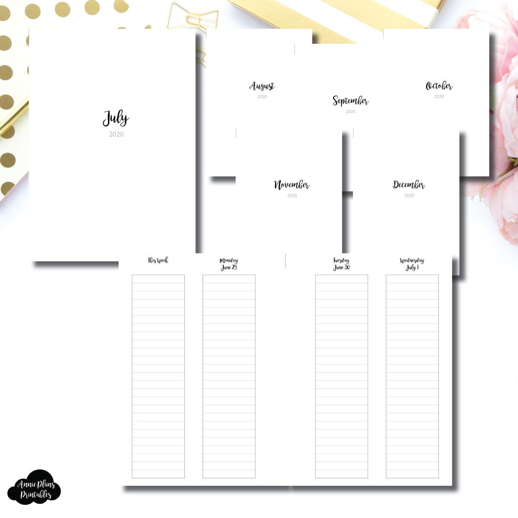 Personal Wide Rings Size | JUL - DEC 2020 | CLASSIC LINED Vertical Week on 4 Pages Printable Insert