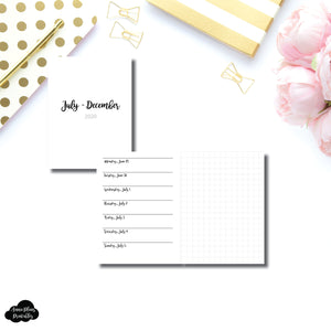 Micro TN Size | JUL - DEC 2020 | CLASSIC Horizontal Week on 1 Page + GRID  Printable Insert