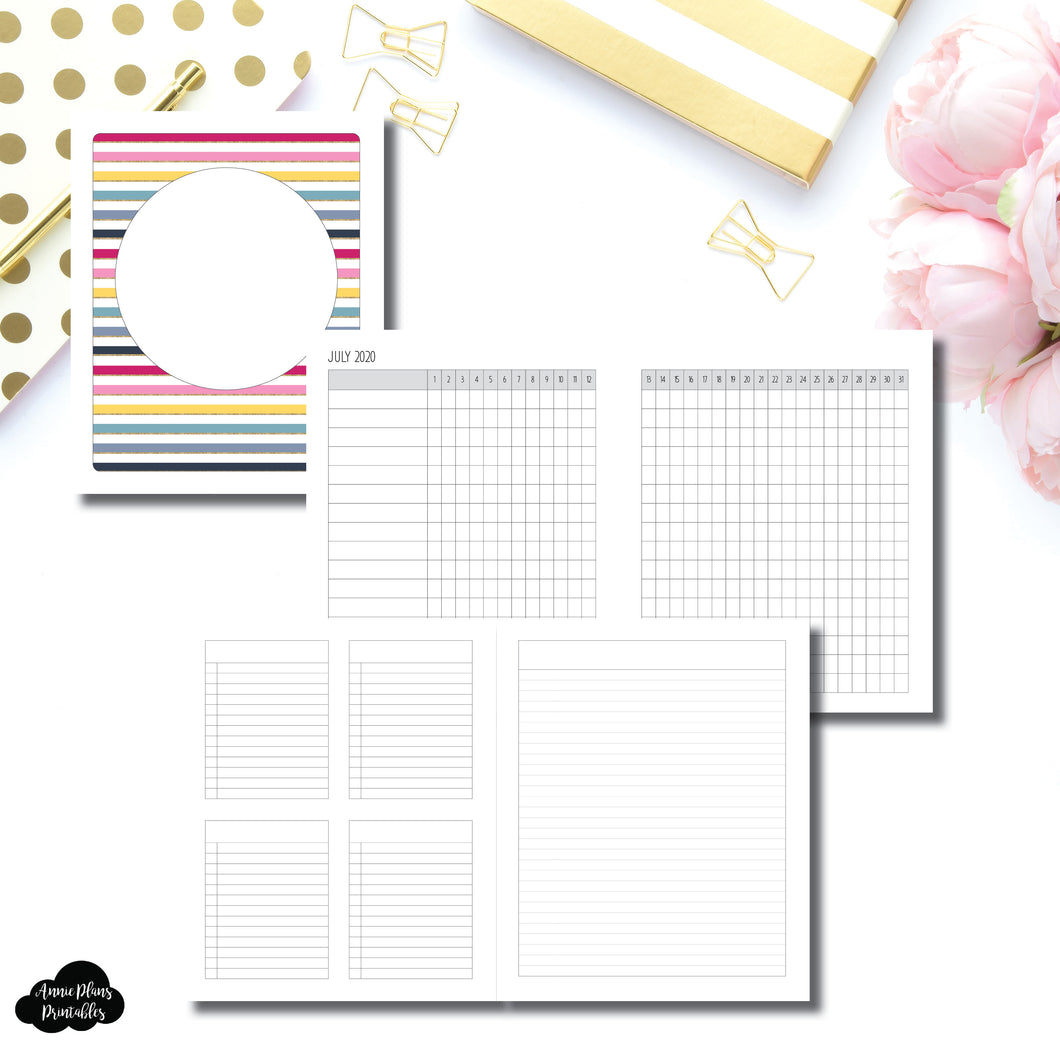 A5 Wide Rings Size | JUL - DEC 2020 Tracker + Lists & Notes Printable Insert