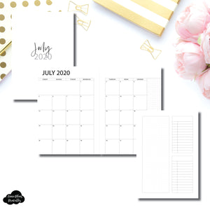 A5 Rings Size | 2020 - 2021 Academic Monthly With Cover & Notes Page Printable Insert