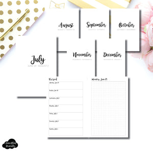 Mini HP Size | CLASSIC JUL - DEC 2020 Bundle: Weekly/Daily GRID Printable Insert