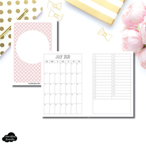 Personal Wide Rings Size | 2020 - 2021 Academic Monthly + Perpetual Calendar PRINTABLE INSERT