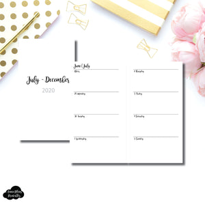 Personal Rings Size | JUL - DEC 2020 | CLASSIC Horizontal Week on 2 Pages  Printable Insert