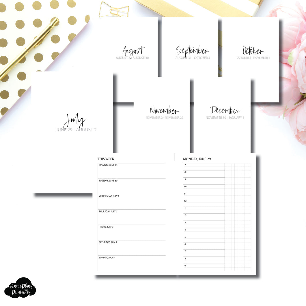 Mini HP Size | SIMPLE JUL - DEC 2020 Bundle: Weekly/Daily TIMED Printable Insert
