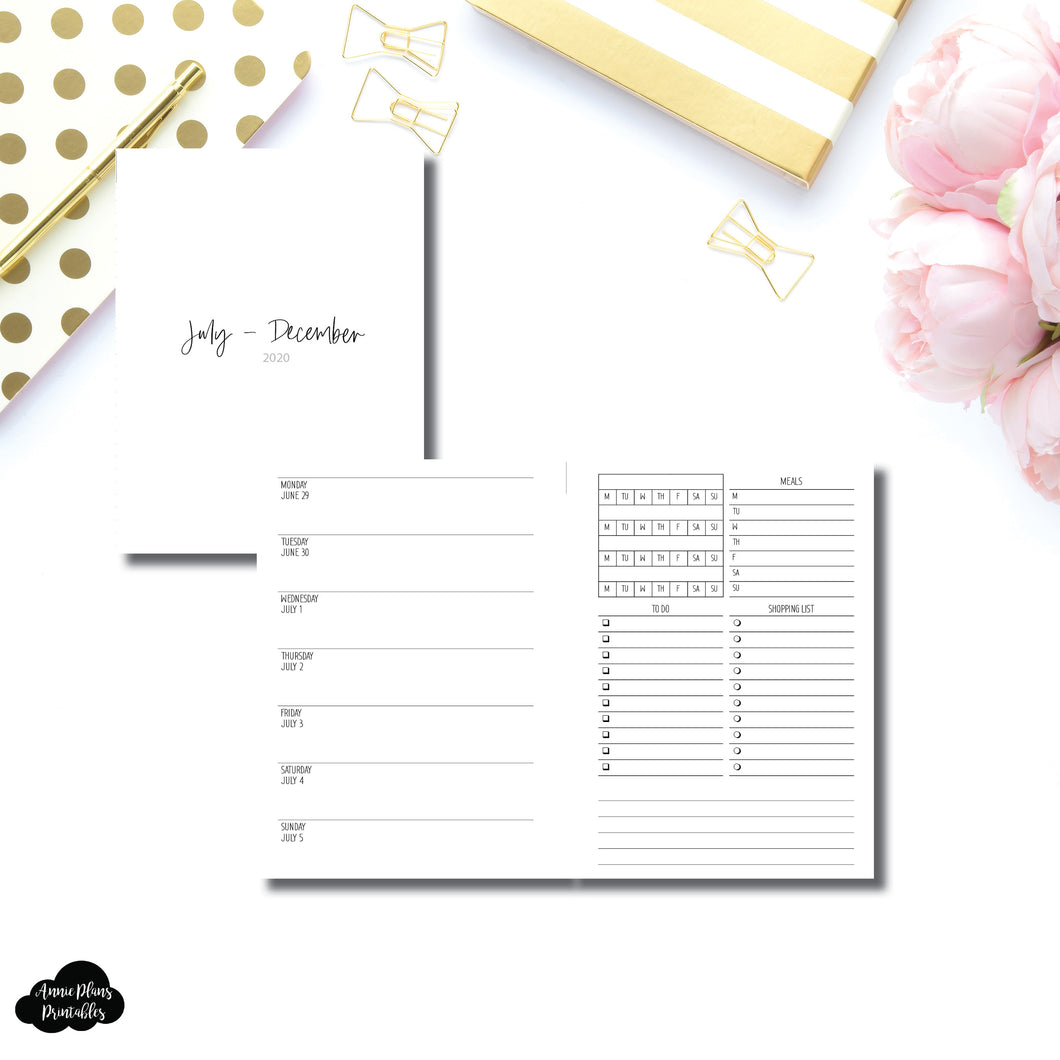 Personal Wide Rings Size | JUL - DEC 2020 | Week on 1 Page With Trackers + Lists  Printable Insert