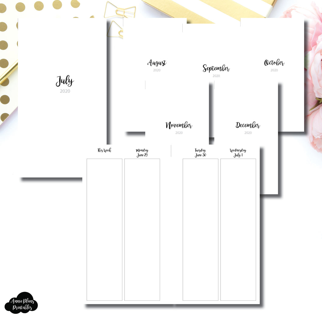 Personal Rings Size | JUL - DEC 2020 | CLASSIC Vertical Week on 4 Pages Printable Insert