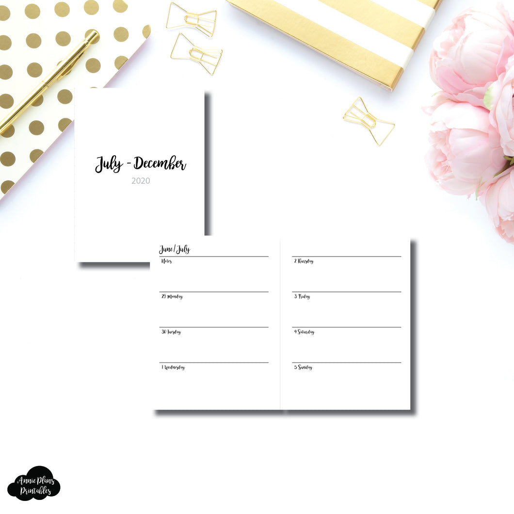Micro TN Size | JUL - DEC 2020 | CLASSIC Horizontal Week on 2 Pages Printable Insert